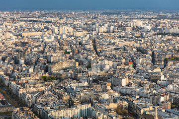 Center of paris from top roofs and streets panorama city