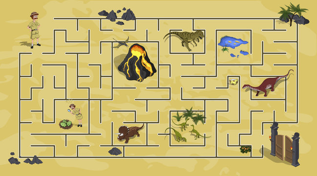 Cartoon kids maze in dinosaur world. Labyrinth of dino way. Help  researcher find path to gate. Childrens home game. Vector isometric illustration
