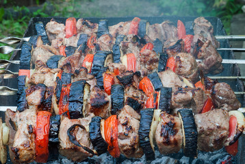 Juicy slices of meat with sauce prepare on fire shish kebab