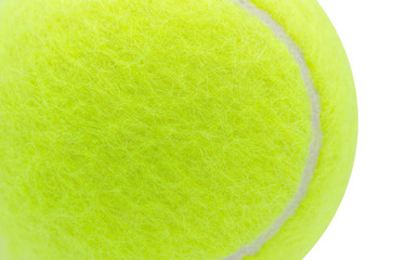 Tennis ball isolated on white background ,Close up,Textures,Copy space