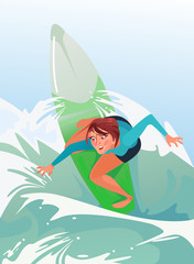 Happy smiling woman girl character riding surf. Summer time sport vacation vector cartoon illustration