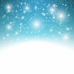 Blue sparkling background with snowflakes