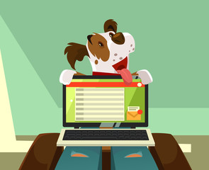 Happy smiling dog character trying pay owner attention on itself. Animal friendship concept vector cartoon illustration