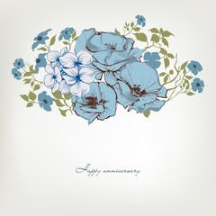 Fototapete - Floral background, blue flowers bouquet