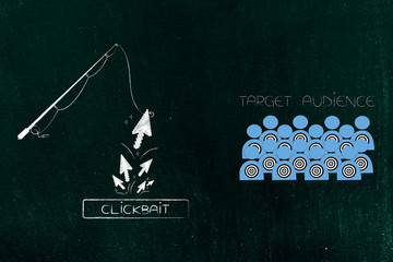 fishing rod with ciickbait button and group of mouse pointer clicks coming from it next to target audience