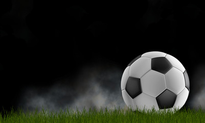 soccer ball with fog black background with dark green lawn 3d-illustration isolated