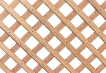 Wooden lattice on white background