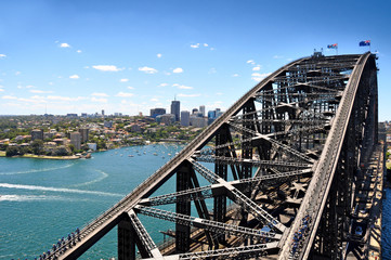 Sydney Harbour Panorama - View from the south-eastern pylon containing the tourist lookout towards...
