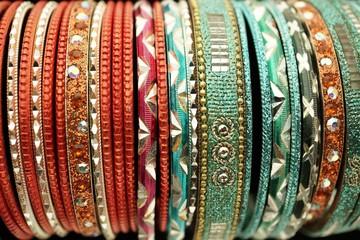 Colorful bangles close up