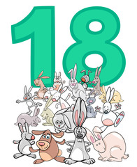 number eighteen and cartoon rabbits group