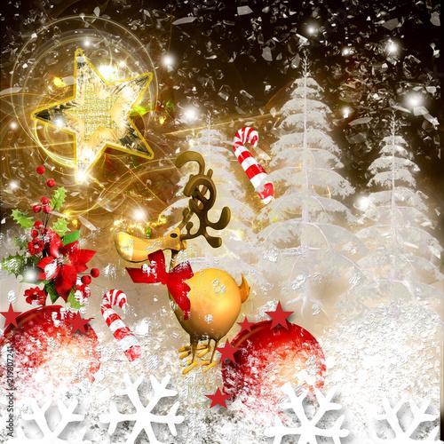 Paesaggio Di Natale Con Renna E Alberi Con Neve Stock Photo And