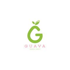 Guava logo vector. Fresh fruit logo vector template