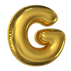 Golden balloon font 3d rendering, letter G