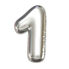 Silver balloon font 3d rendering, number 1