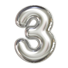 Silver balloon font 3d rendering, number 3