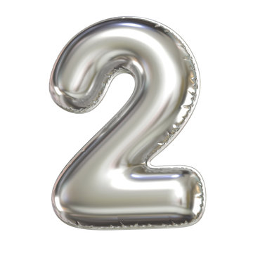 Silver balloon font 3d rendering, number 2