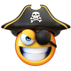 Pirate emoji isolated on white background, emoticon with the pirate hat and the eye patch 3d rendering