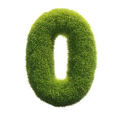 Grass font 3d rendering number 0
