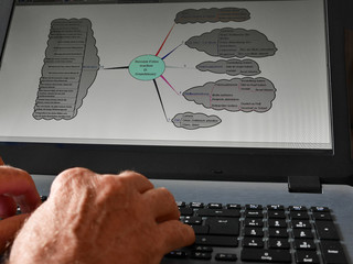 Male hands working on computer creating a  mind map