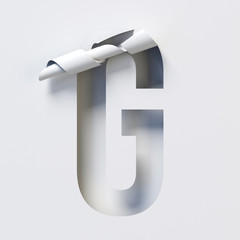 Cut out curled paper font 3d rendering letter G
