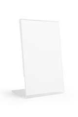 transparent acrylic table stand display isolated