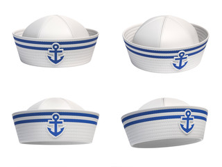 Sailor hat with blue anchor emblem from various views 3d rendering