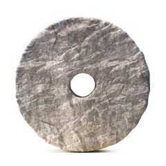 Stone wheel isolated on white background 3d rendering