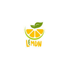 Lemon logo vector. Fresh fruit logo vector template