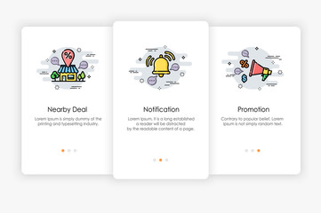 Onboarding screens design in Shopping concept. Modern and simplified vector illustration, Template for mobile apps.
