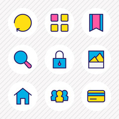 Vector illustration of 9 application icons colored line. Editable set of credit card, padlock, home and other icon elements.