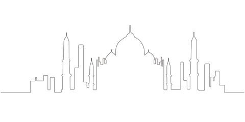 Continous line skyline of New Delhi
