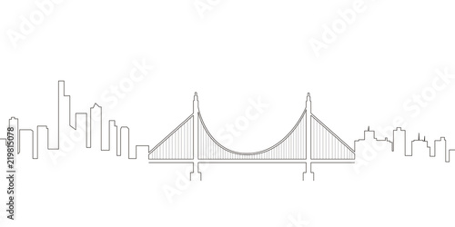 Continous Line Skyline Of San Francisco Stock Image And Royalty