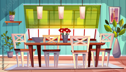 Dining Room Interior Vector Illustration Of Modern Or Retro