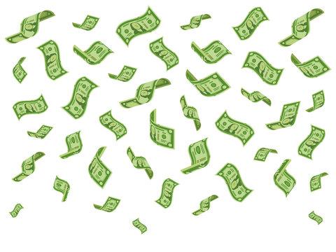 Falling banknotes. Wealth money denominations rain, falling dollar bills and raining dollars vector cartoon concept illustration