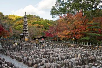 People at Adashino Nenbutsuji temple
