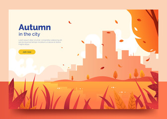 Autumn web banner with city landscape. Yellow and red falling leaves,grass and trees. Sunset in the autumn season. Colorful background for promo flyer, web page, card. Vector eps 10.