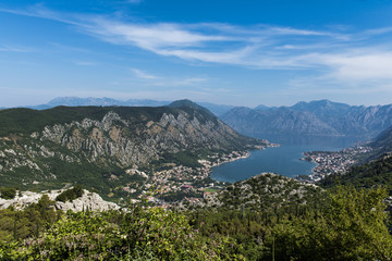 Kotor Bay is a bay of from the Adriatic sea in southwestern Montenegro. The main town seen in the photo is Kotor which is one of the UNESCO's World Heritage Sites