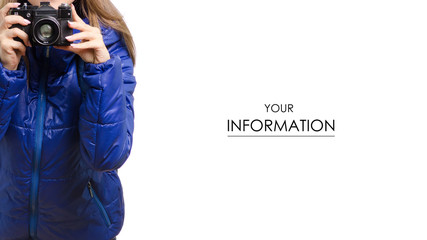 Beautiful young woman in a jacket with a camera and a backpack travel pattern on a white background isolated