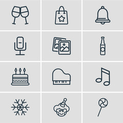 Vector illustration of 12 celebrate icons line style. Editable set of gift bag, cake, snowflake and other icon elements.