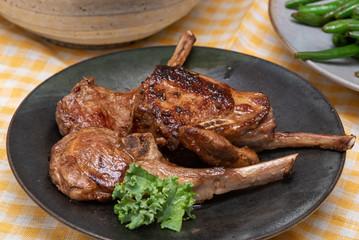 Pan Seared Lamb chops plate