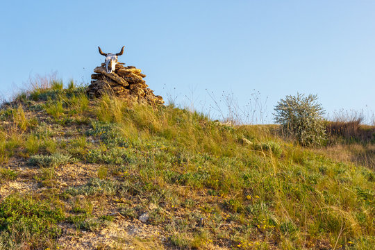 Pile of stones with the cow skull on top of the hill. Sign of shepherds boundary