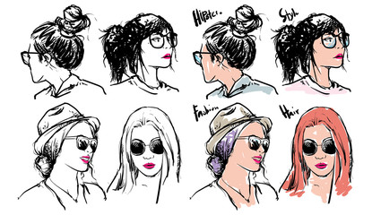 Wall Mural - Hand drawn fashion girls, Vector Illustration, Sketch outline