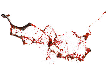 Red blood splash on white background