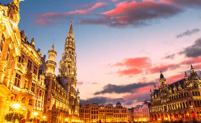 Brussels , Grand place  in summer twilight ,Belgium
