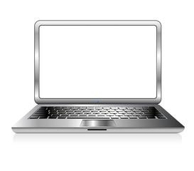Silver PC Laptop Computer Icon Vector illustration
