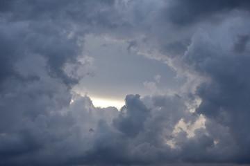 Fototapeta Hole in dark clouds obraz