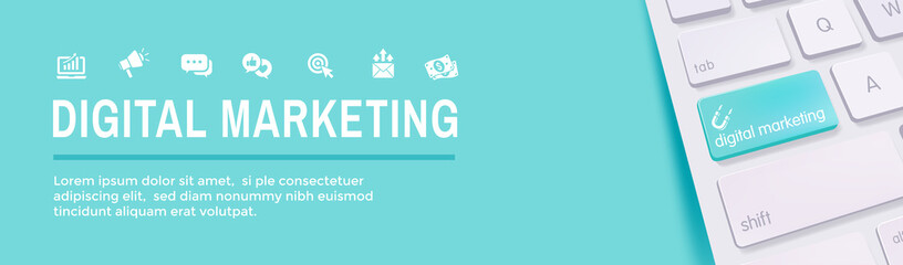 Digital Inbound Marketing Web Banner with Vector Icons w CTA, Growth, SEO, etc