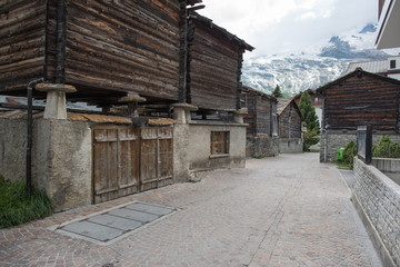 saas fee switzerland, canton valais beautiful small village with historical buildings