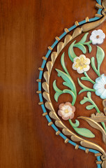Colorful wooden floral pattern on door leaf, Cairo, Egypt