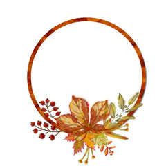 Autumnal Round Frame with Leaf Arrangement. Watercolor Botanical Template for Print, Announcement, Advertising, Display, Greeting Card, Mailer, etc.